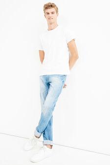 Jeans straight fit effetto stropicciato, Lavaggio medio, hi-res