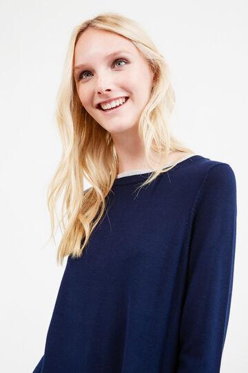 Pullover finto doppio a contrasto, Blu navy, hi-res
