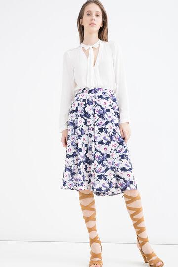 Stretch printed midi skirt, Blue/Red, hi-res