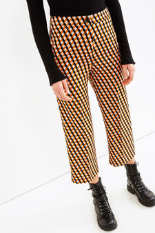 Cropped trousers with geometric pattern, Multicolour, hi-res
