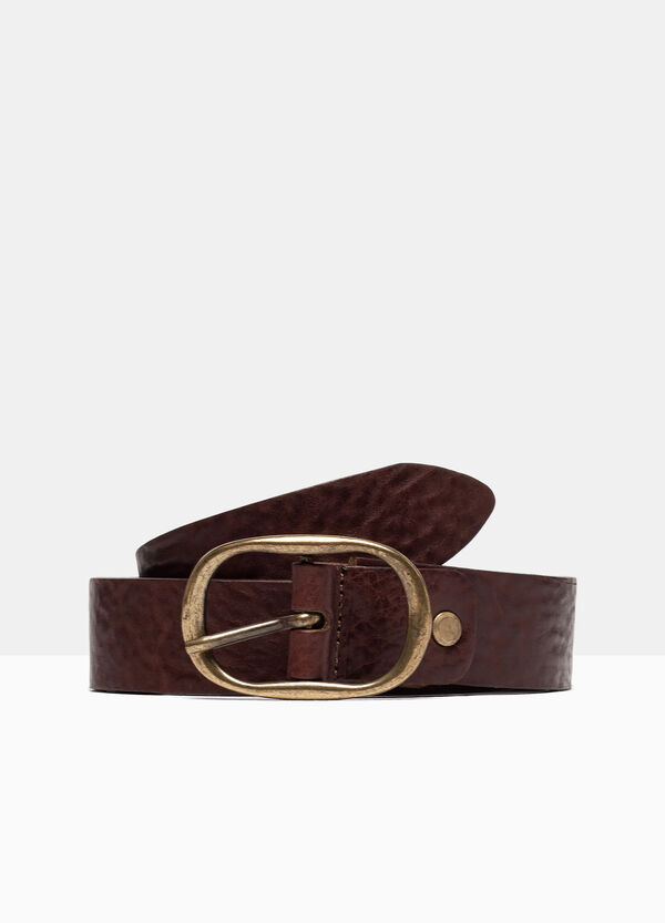 Real leather belt with oval buckle | OVS