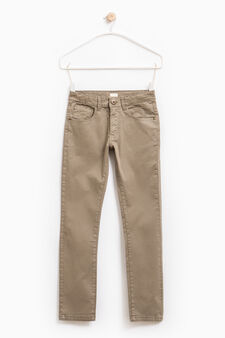 Solid colour stretch cotton trousers, Olive Green, hi-res