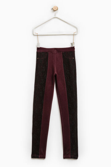 Jeggings stretch con pizzo, Rosso bordeaux, hi-res