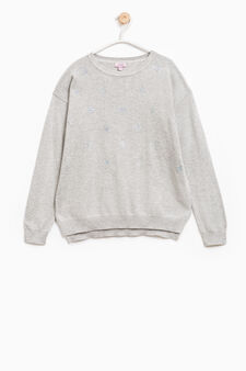 Pullover with diamantés and side slits, Light Grey, hi-res