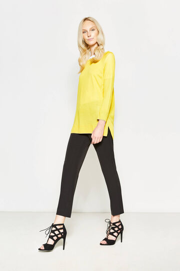 Elegant crop trousers with crease, Black, hi-res