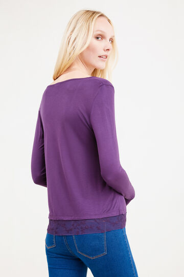 T-shirt in 100% viscose with lace, Purple, hi-res