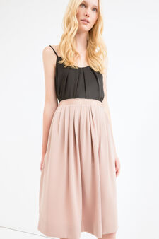 High-waisted longuette skirt, Powder Pink, hi-res
