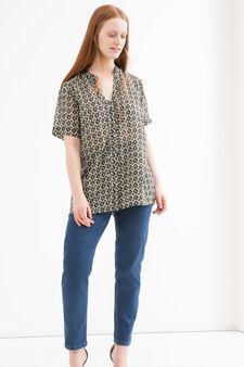 Curvy patterned blouse, Black, hi-res