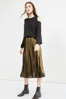 Pleated midi skirt, Golden Yellow, hi-res