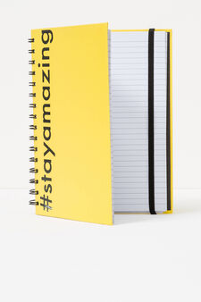 Spiral ring notebook with lined pages, Yellow, hi-res