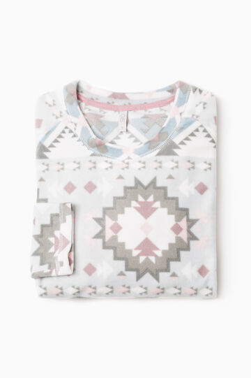 All-over print fleece pyjama top, White, hi-res