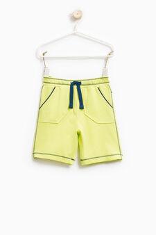 100% cotton Bermuda shorts with drawstring, Green, hi-res