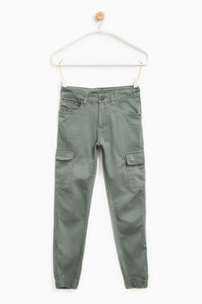 Creased-effect cotton trousers, Grey, hi-res