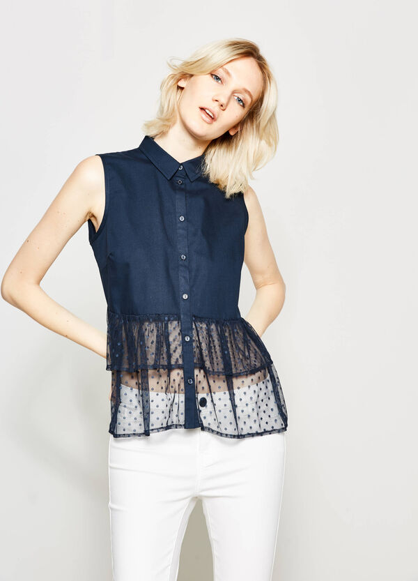 Sleeveless shirt with tulle | OVS