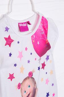 T-shirt cotone stampa Masha e Orso, Bianco, hi-res