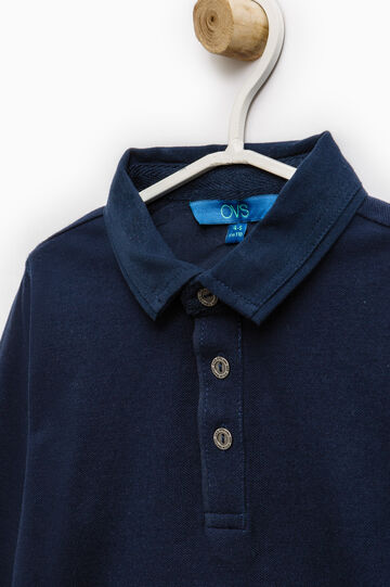 Polo shirt in 100% cotton with long sleeves, Navy Blue, hi-res