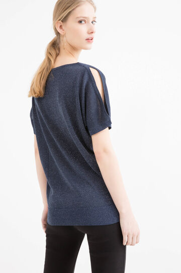 Viscose blend crew neck pullover, Navy Blue, hi-res