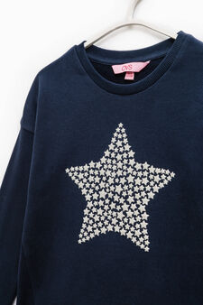 100% cotton sweatshirt with glitter print, Blue, hi-res