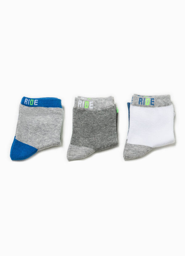 Set tre paia di calze corte bicolore | OVS