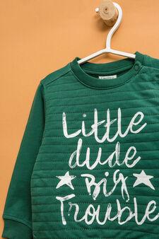 Felpa puro cotone stampa lettering, Verde, hi-res