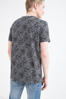100% cotton T-shirt with pattern, Dark Grey, hi-res