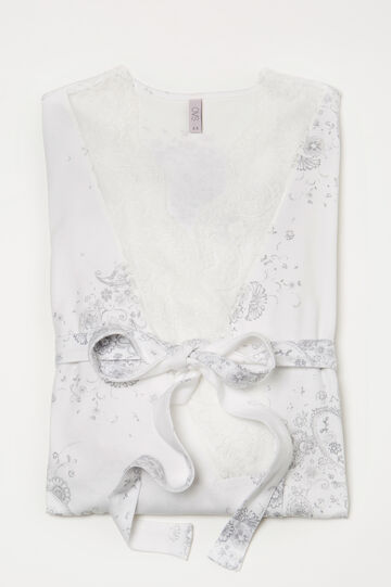 100% cotton dressing gown with lace, Milky White, hi-res