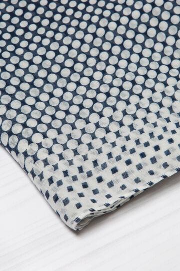 Polka dot print scarf, Navy Blue, hi-res