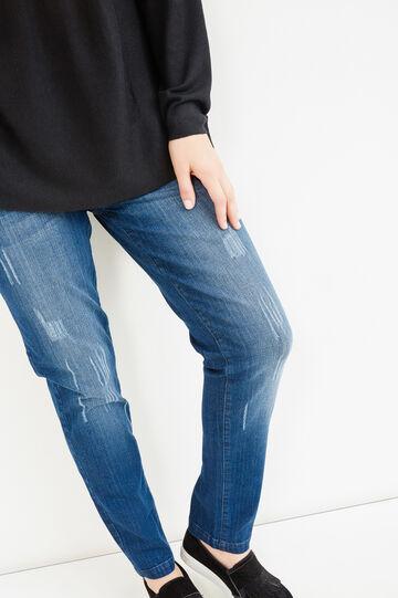 Curvy worn-effect stretch jeans, Blue, hi-res
