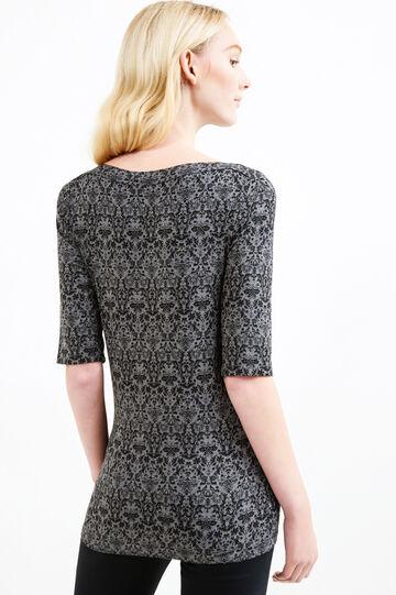 Patterned T-shirt in stretch viscose, Black/Grey, hi-res