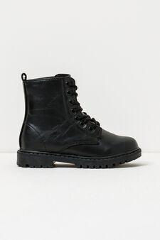 Combat boots with thick tread sole, Black, hi-res