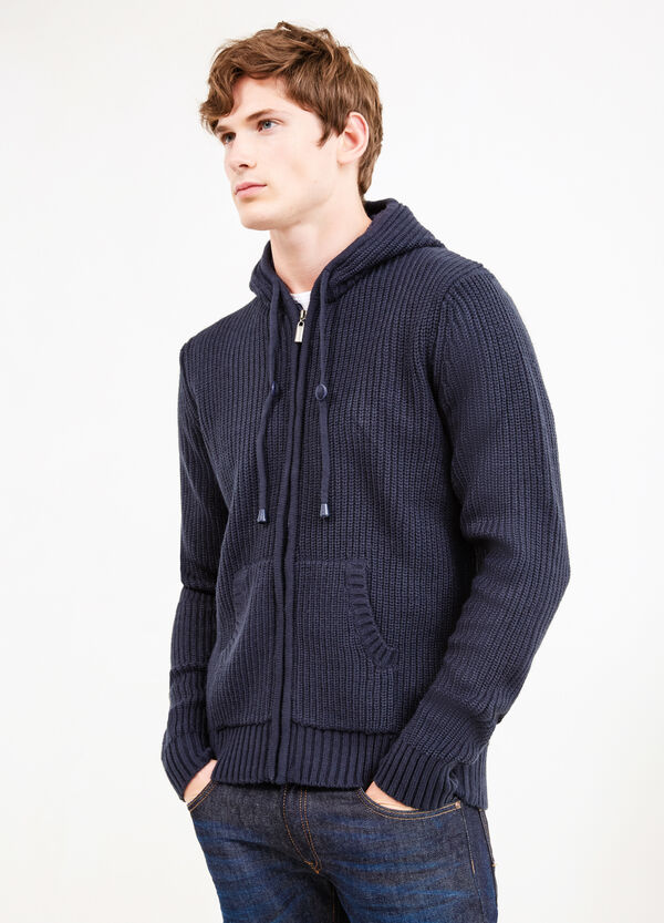 Knitted cardigan with hood and zip | OVS