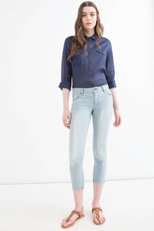 Skinny fit stretch jeans with rips, Soft Blue, hi-res