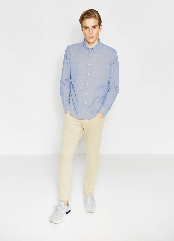 Slim-fit striped-patterned casual shirt | OVS