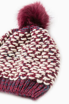 Beanie cap with fur pompom, Claret Red, hi-res