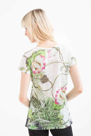 Floral viscose T-shirt with diamanté detail, Green, hi-res