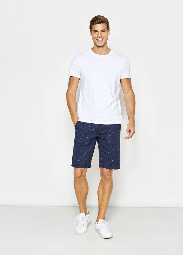 Regular-fit, stretch patterned chino Bermuda shorts | OVS