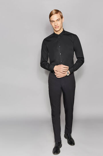 Elegant slim-fit trousers with crease, Black, hi-res