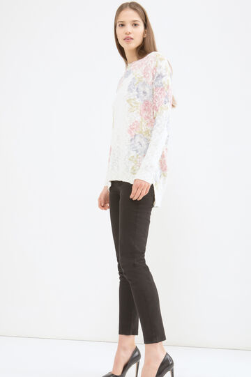 Floral patterned pullover, White, hi-res