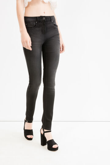 Washed and faded effect stretch jeans, Black, hi-res