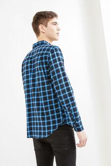 Camicia casual slim fit quadri, Nero/Blu, hi-res