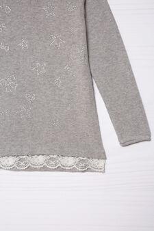 Pullover puro cotone con strass, Grigio melange, hi-res