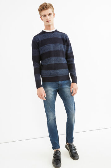 Striped knit pullover, Navy Blue, hi-res
