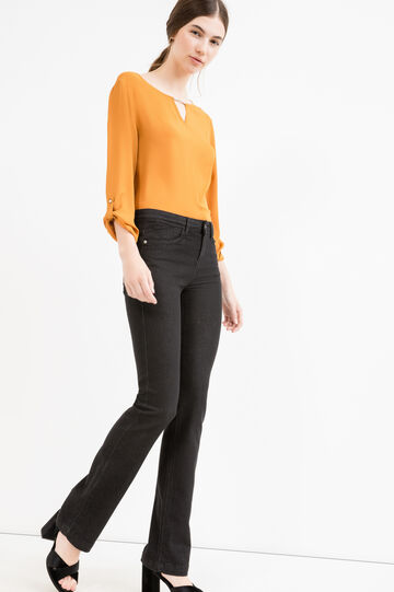 Solid colour blouse with three-quarter sleeves, Ochre Yellow, hi-res