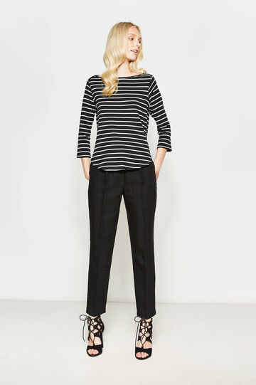 Striped T-shirt with three-quarter sleeves