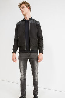 Solid colour jacket with inserts, Black, hi-res
