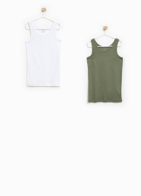 Two-pack Biocotton vests with round neck | OVS