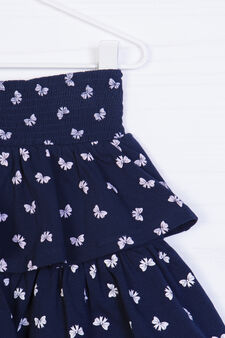 Stretch skirt with patterned frills, Blue, hi-res