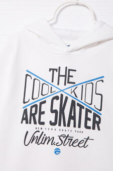 100% cotton hoodie with printed lettering, Cream White, hi-res