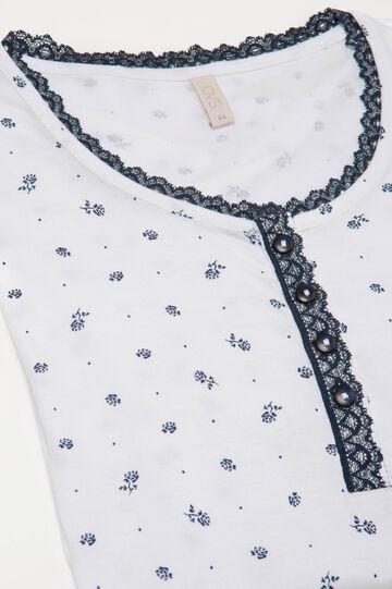 Pigiama fantasia floreale cotone, Bianco/Blu, hi-res