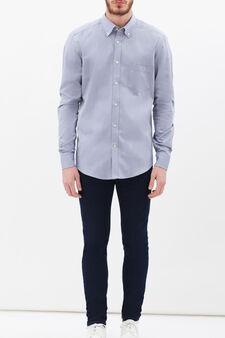 Slim-fit shirt with pocket, Soft Blue, hi-res